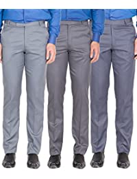 American-Elm Men's Light Grey, Dark Grey, Grey Blue Colour Formal Trousers- Pack Of 3