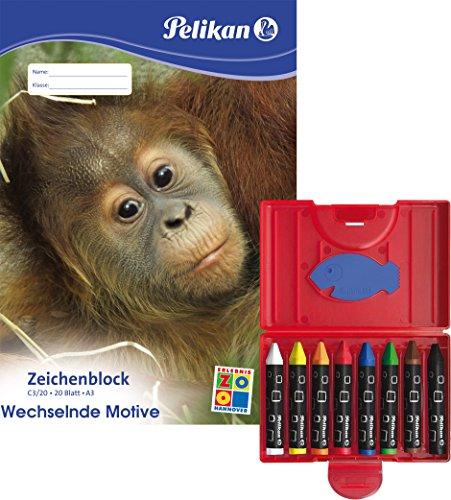 Pelikan 722942 Wachsmalstifte 665/8d, wasserfest, Kunststoff-Etui mit 8 dicken dreieckigen Stiften / Kombi-Set (+ Zeichenblock DIN A3)