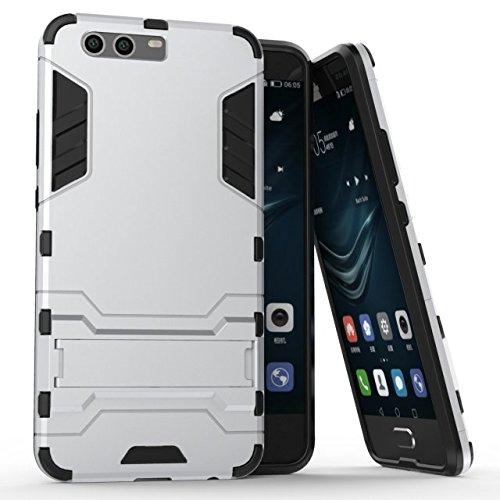 Cover Huawei P10 Plus, Custodia Huawei P10 Plus, MHHQ 2 in 1 nuovo Armour stile resistente Hybrid Dual Layer Armatura Defender PC + TPU Custodie con supporto [Custodia antiurto] per Huawei P10 Plus -Silver