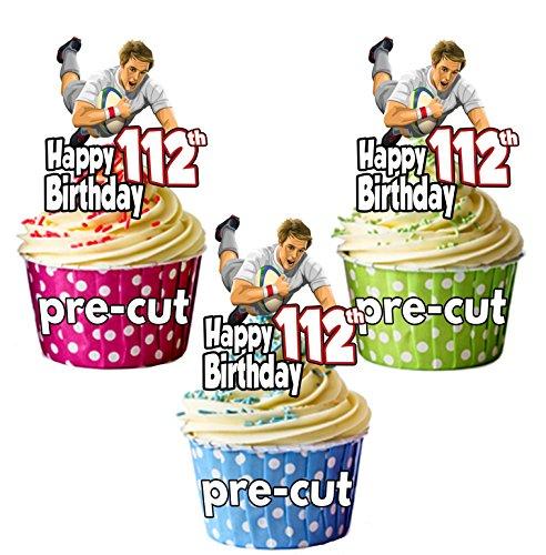 Essbare Cupcake-Topper mit Rugby-Motiven, zum 112. Geburtstag, 12 Stück -