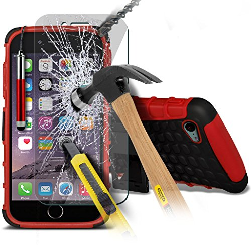 Aventus ( Black ) Apple iPhone 6S Case Cutom Made Drop Proof Heavy Duty Plastic Cover + Tempered Glass with Polishing Cloth & Stylus Touch Screen Pen Shock Proof + Tempered ( Red )
