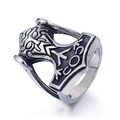 Trendsmax Rock N 'Roll intagliato Hammer Uomini Bambini maschi nero argento tono acciaio inossidabile 316L Anello di norreno Thor vichingo