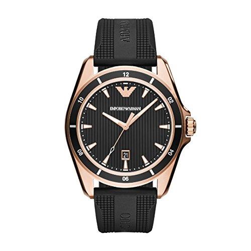 Emporio Armani Herren Analog Quarz Uhr mit Silikon Armband AR11101