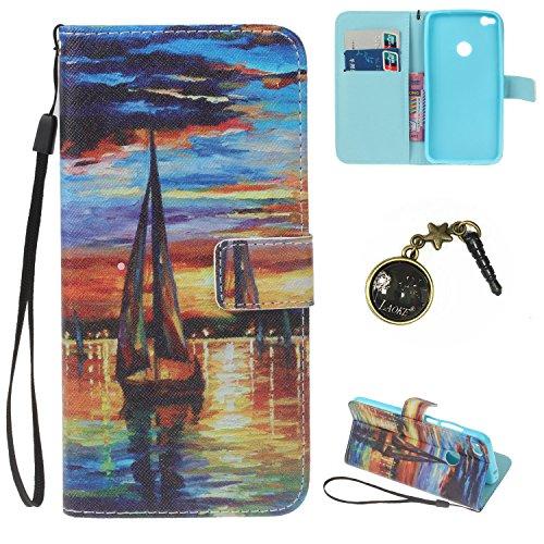 Preisvergleich Produktbild PU P8 Lite (2017) Hülle case vintage ledertasche, Handy Schutzhülle fürHuawei P8 Lite (2017) Hülle Leder Wallet Tasche Flip Brieftasche Etui Schale (+Staubstecker) (17)