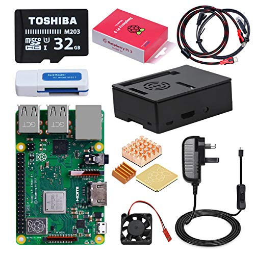 DINOKA Raspberry Pi 3 B+ Starter Kit con Micro SD de 32GB Clase 10, 5V 2.5A power adapter with switch, 3 radiators, Cable HDMI, Box Quality, Card Reader, Reticle
