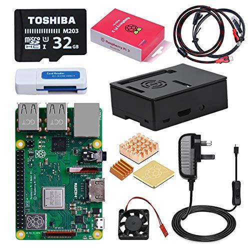 DINOKA Raspberry Pi 3 B+ Starter Kit con Micro SD de 32GB Clase 10, 5V 2.5A...