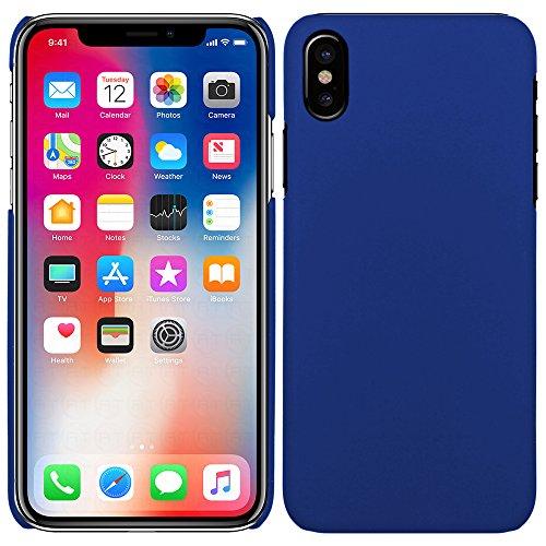 Apple iPhone X - Rubber Schutzhülle Gummiert Hybrid Hard Case Schutz Cover Etui Hülle Tasche in Schwarz - RT-Trading Blau