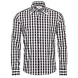 Almsach Trachtenhemd Slim Fit Chris Zweifarbig in Schwarz und Weiß, Größe:L, Farbe:Mehrfarbig