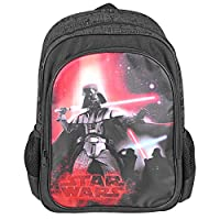 PERLETTI Star Wars Kids Backpack - Boys Rucksack with Front Pocket - Darth Vader Print - Small School Bag for Elementary and Kindergarten - Adjustable Shoulder Straps - 42x28x12 cm - Black