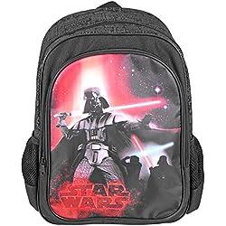 Mochila para niño Star Wars - Bolso escolar con bolsillo frontal con estampado de Darth Vader - Bolsa para la escuela y la guarderia La guerra de las galaxias - Negro - 42x28x12 cm - Perletti
