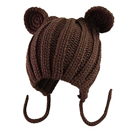 K-youth Sombrero de Punto Niña Sombreros Bebé Invierno Orejas de Gato  Manual Gorras Bebé c890f4ba348