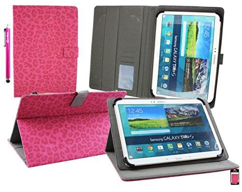 Emartbuy® YunTab 3G Tablet 10.1 Zoll Universal Range ( 10 - 11 Zoll ) Pink FauxWildlederLeopard Multi Angle Exekutiv Folio Mappen Kasten Abdeckung mit Kartensteckplätze + (Zubehör Schöne Leopard Kit)