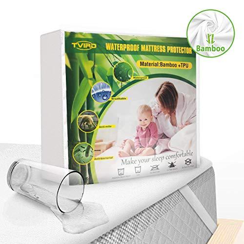 Tvird Wasserdichter Matratzenschoner 180 x 200cm Atmungsaktive Bambusfaser Matratzenauflage 4 Gummiband | Anti-Allergisch | Anti-Milben Matratzenbezug | Wasserundurchlässiger Matratzen-Schutz