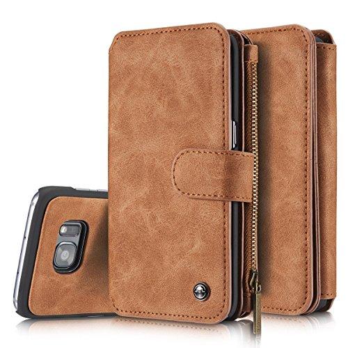aiomao 2in 1Luxus-Leder Magnetic Wallet Schutzhülle für für Apple iPhone 55S SE 66S 7Plus & Glalaxy S6/S7/S6Edge/S7Edge/Note5/S8/s8plus Flip Cover mit Karte Halter (Halter Mit 5s-cover Phone Karte I)
