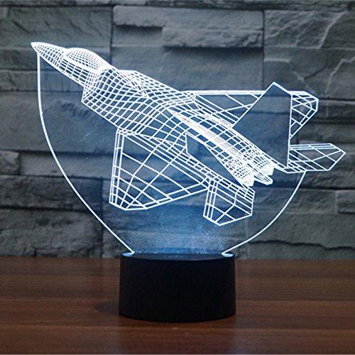 Lampe 3D ILLUSION Lichter der Nacht, kingcoo 7Farben LED Acryl Licht 3D Creative Berührungsschalter Stereo Visual Atmosphäre Schreibtischlampe Tisch-, Geschenk für Weihnachten, Kunststoff, Avion 0.50 wattsW - 3