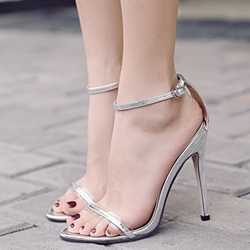 Oasap Damen Offen High Stiletto Schnalle Club Sandalen Silver