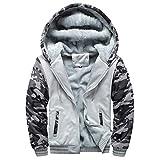 Yvelands Herren Kapuzenpullover Strickjacke Winter Warm Fleece Zipper Sweater Jacke Outwear Mantel Tops Blusen (EU-54/L3,Grau)