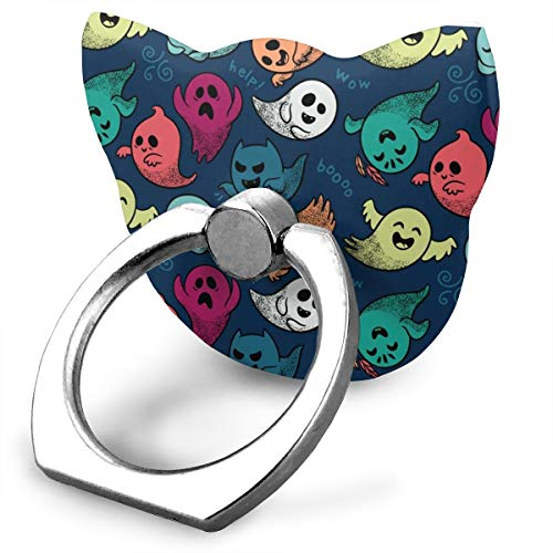 magic ship Cute Cartoon Ghosts Ring Stand 360°Rotation Thin Universal Phone Ring Holder Transparent Finger Ring Tablets cat ()