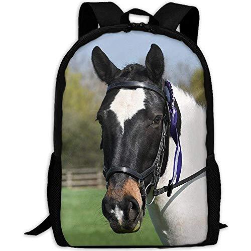 Backpack Hübsches Schwarzweiss-Pferd Erwachsener Reiserucksack Schule Lässig Tagesrucksack Oxford Outdoor Laptop Tasche College Computer Umhängetaschen -
