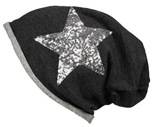 Berretto Jersey lungo Beanie con glitter per le donne e gli uomini in nero