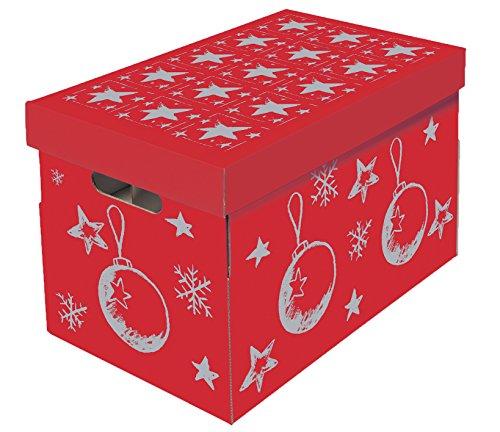 NIPS 119201145 Christmas Aufbewahrungsbox für Christbaumkugeln und Weihnachtsdeko mit variabler Innenaufteilung auf 3 Ebenen, 27,5 x 46,5 x 29,5 cm, rot/silber