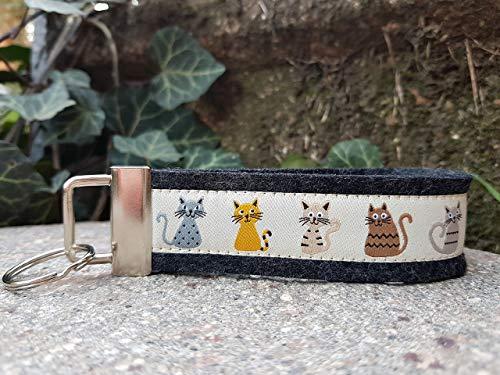 Schlüsselanhänger Schlüsselband Wollfilz schwarz grau Webband Katzen beige Geschenk! -