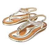 Camfosy Sandales Femmes Plates Été, Chaussures Tongs Nu Pieds Claquettes Strass...