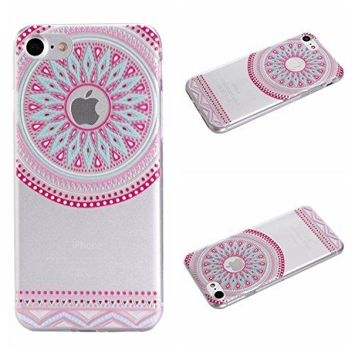 Qiaogle Téléphone Coque - Soft TPU Silicone Housse Coque Etui Case Cover pour Apple iPhone 7 (4.7 Pouce) - DD05 / Mandala Leaves Fleur DD03 / Pink Cercle Fleur