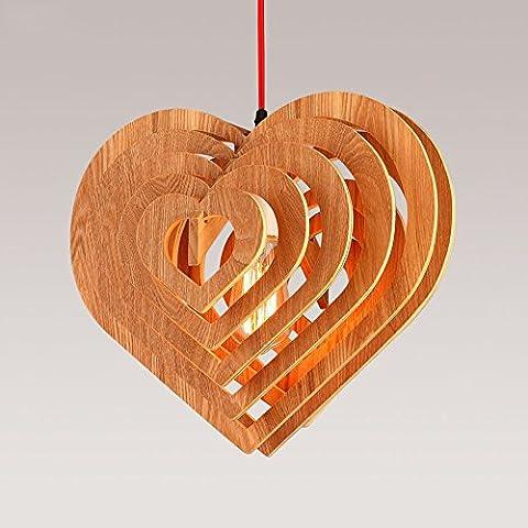 Ztleuchte Modern Wood Pendant Lights Creative Heart Chandelier Luester Simple