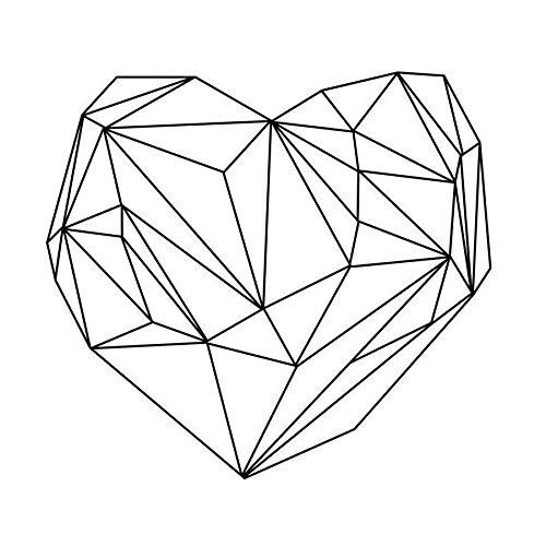 "JUNIQE® Leinwandbild 20x20cm Schwarz & Weiß Herzen - Design ""Heart Graphic"" (Format: Quadrat)..."