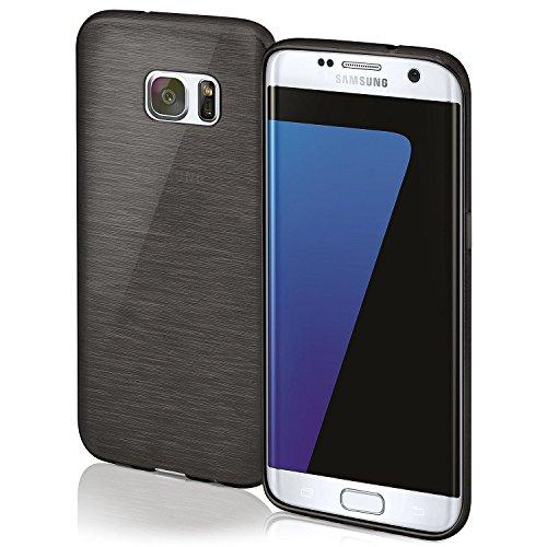 Cover di protezione Samsung Galaxy S7 Edge Custodia Case silicone sottile 1,5mm TPU | Accessori Cover cellulare protezione | Custodia cellulare Paraurti Cover Spazzolata Look DEEP-BLACK - 1.5 Case