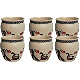 Sharma Gifts Premium Handcrafted Ceramic Off-White Matte Finish Pottery Printed Mugs/Chai Kullar/Kullad/Cups (Set Of 6)