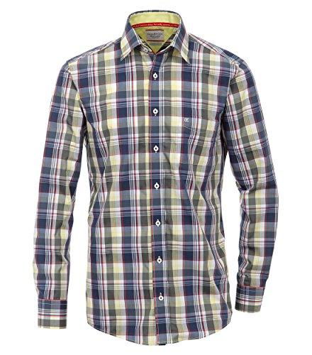 Casa Moda - Comfort Fit - Herren langarm Hemd in verschiedenen Farbvarianten Gelb/Blau (300)