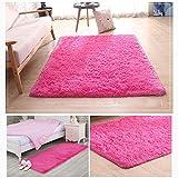 LeiQuanQuan Cheveux longs, epaississement, soie, moquette, salon, tapis, tapis, tapis, tapis, table basse, tapis, 40x60cm (Couleur : Red)...
