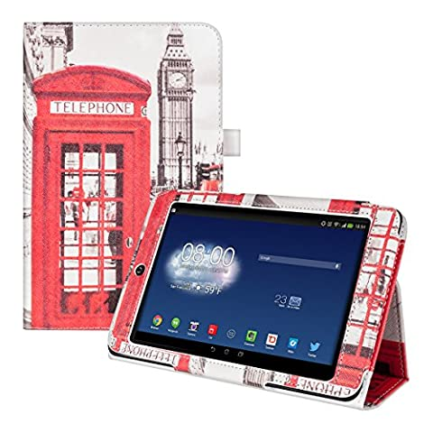 kwmobile Hülle für Asus Memo Pad HD 7 ME173X - Tabletcover Slim Case Tablet Schutzhülle - Smart Cover Tabletcase Telefon Big Ben Bus Design Rot Schwarz Weiß