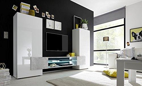 Sodani parete attrezzata mobili soggiorno 2 mobili a colonna 1 mobile tv in melamina 258x37x143cm build bianco e cemento