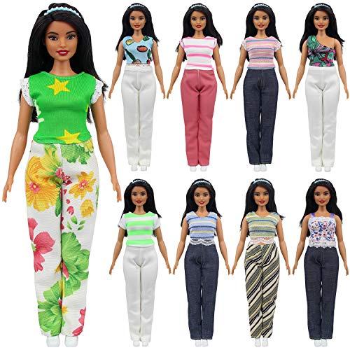 ck Kleider Puppensachen für 11,5 Zoll Mädchen Puppe Mode Handgefertigte Hosen Outfits T-Shirt Bluse Kostüm Barbie Kleidung Puppenkleider ()