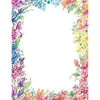 أوراق رائعة! رأس مطبوع عليه زهور براقة، 80 قطعة، 21.5 سم × 27.9 سم (2014333)