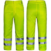 AQUA Polyester Cotton Workwear Trouser with Two Band Reflective Tape. Hi Vis Fluorescent Yellow. 40