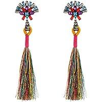 Chytaii Pendientes Mujer Pendientes Largos con Flecos Viento Nacional Pendientes de Tira de Metal Accesorios Damas Pendientes Multicolor 10.5cm