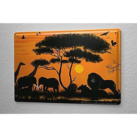 K. Honkou Cartel de chapa Placa metal tin sign Agencia De Viajes De Vacaciones Decoración África León Jirafa Elefante 20X30 cm