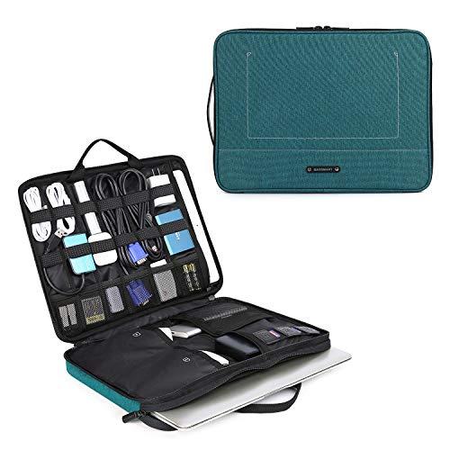BAGSMART Laptop Tasche Schutztasche mit Elektronik Zubehör Organizer, Notebooktasche mit 2 Henkel für 13-14 Zoll Laptop, 12.9 Zoll Tablet Kabel Ladegerät Netzteil Maus Powerbank, Grün