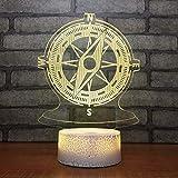 Bussola Night Lighg Touch Telecomando Luce notturna 3D Lampada per bambini a sette colori Base bianca Bella camera da letto Comodino Luce per il sonno del bambino