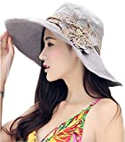 Ladies Girls Packable Wide Brim Floppy Sun Hat with Flower Brooch Lace Band Quickly Dry UPF 50+ UV Protection Travel Holiday Beach Camping Hats Caps Topee Headwear for Summer Fall Spring