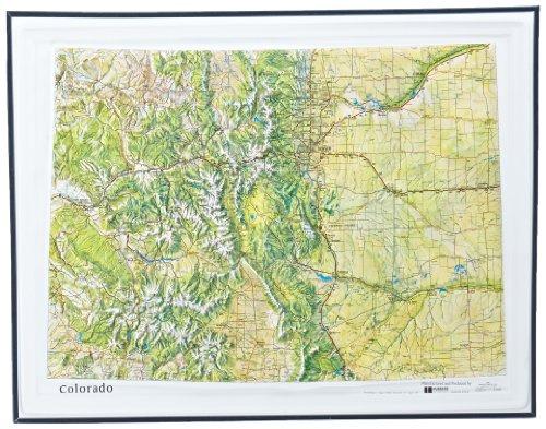 American Educational Colorado Reliefkarte mit schwarzem Kunststoffrahmen, 43 x 56 cm