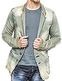 Herren Denim Jacke Vintage Jeansjacke Sakko Pitt ID1367, Farben:Beige, Größe Jacken:S