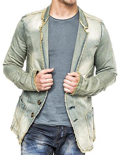 Herren Denim Jacke Vintage Jeansjacke Sakko Pitt ID1367, Farben:Beige, Größe Jacken:S -