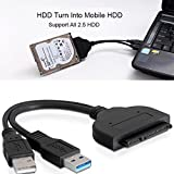 EkoBuy® USB 3.0 to 2.5 inch SATA III Hard Drive / SSD Adapter with SSD Optimized UASP Support Cable Backward USB 2.0 USB 3.0 Compatible with Windows 10/8/7, Mac OS, Linux