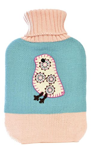 Knitted 2 Litre Patterned Hot Water Bottle & Cover Bird