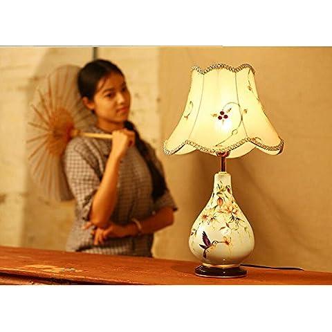KHSKX Moderni lampade in ceramica di stile cinese vasi da giardino, camera da letto comodino, Lampade da tavolo di nozze creativo, lampadari d'epoca
